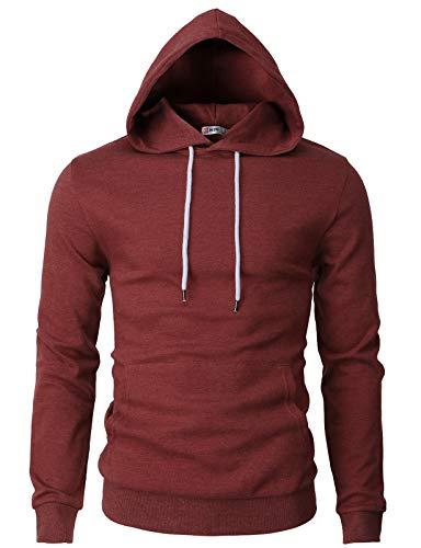 H2H Mens Basic Slim Fit Long Sleeve Hoodie Sweatshirts Maroon US M/Asia L (CMOHOL050)