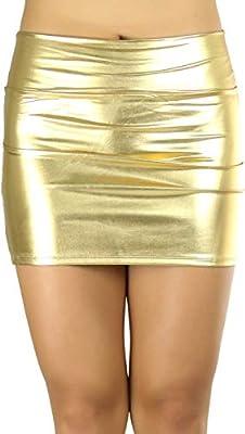 ToBeInStyle Women's Solid Metallic 100% Polyester Skirt