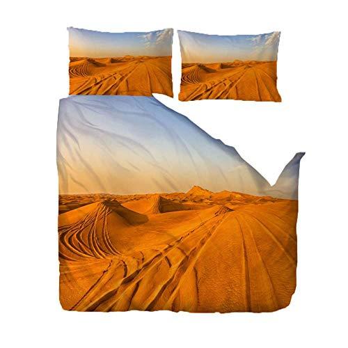GQYJMSJS Funda de Edredón 140 x 200 cm Patrón del Desierto - Microfibra Funda de Nórdica y 2 Fundas de Almohada - 1 x Funda Edredón 140x200 cm, 2 x Fundas Almohada 50x75 cm- Microfibra