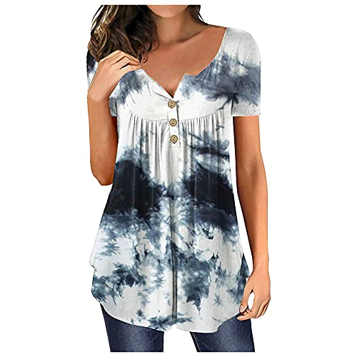 T-Shirt Sommer Kurzarm V-Ausschnitt Oberteile Casual Lose Bluse Shirt Oberteile Pusteblume Drucken Spleißen Tee Tops Casual Loose Shirts mit Knöpfen