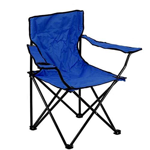 DeveSouth Silla de camping al aire libre acolchada, con estructura de acero, plegable, portátil, plegable, con soporte para tazas, mochila ligera para playa, capacidad de carga de 300 libras (azul)