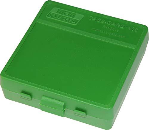 MTM P-100-9-10 100 Round Flip-Top Ammo Box 380/9MM Cal (Green)