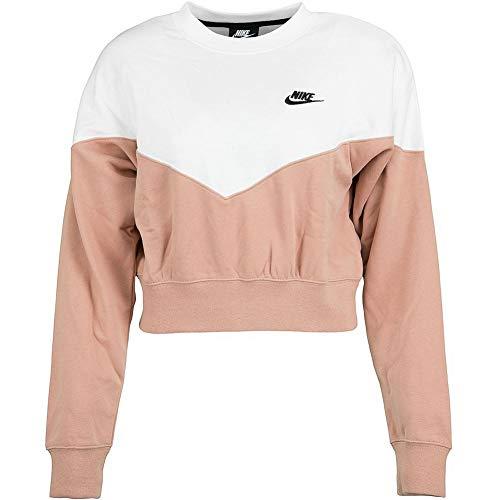 Nike Damen W Nsw Hrtg Crew Flc-ar2505 Langarm Pullover, Rosa (Rose gold/Sail/Black), S