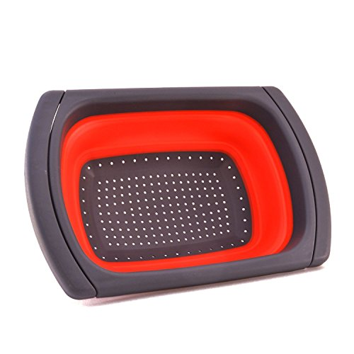 YunNasi Colander Collapsible Folding Strainer Over the Sink Red