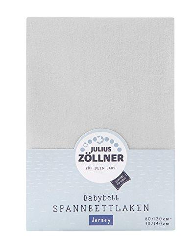 Julius Zöllner 8320147760 - Spannbetttuch Jersey für das Kinderbett, Größe: 60x120 / 70x140 cm, Farbe: hellgrau