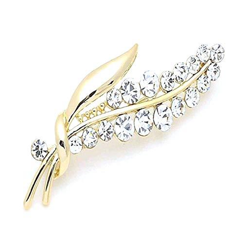 HSQYJ Broche de cristal con diseño de hojas de flores, elegante y brillante, con diamantes de imitación, accesorios de joyería de moda, bufandas y botones para disfraz para mujeres y hombres