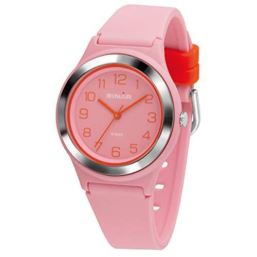 SINAR Mädchen-Armbanduhr Sportuhr Fitness analog Quarz 10 Bar wasserdicht rosa orange XB-48-9