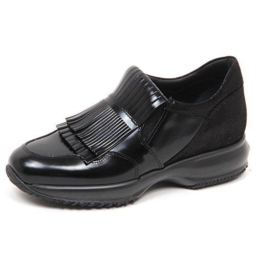 E0218 Sneaker Donna Nero HOGAN Interactive doppia frangia Shoe Woman [35]