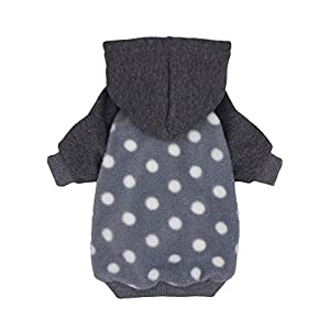 Fitwarm Polka Dot Pet Clothes Dog Hoodie Sweatshirts Pullover Cat Jackets Fleece Grey Small