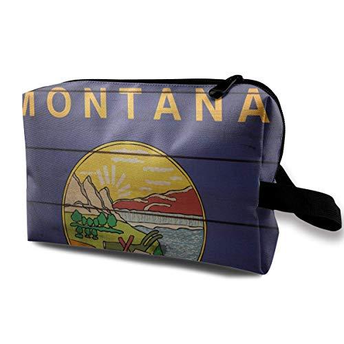 Montana State Flag Wood Texture Petits sacs à cosmétiques Voyage Maquillage Sac Organisateur à la mode
