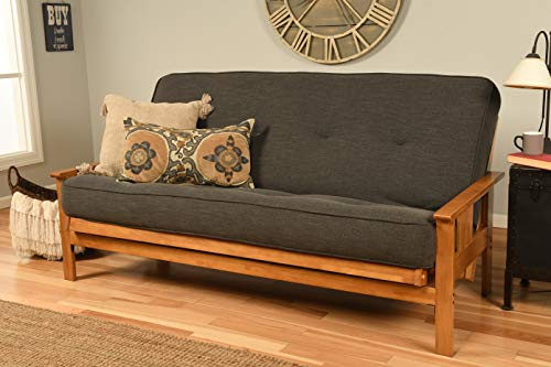 Kodiak Furniture Monterey Futon Set with Butternut Finish, Full, Linen Charcoal
