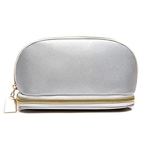 HBYXGS Viaje Bolsa de Maquillaje De Las Mujeres Cuero Impermeable Bolso de Cosméticos (Color : L Gray Cosmetic Bag)