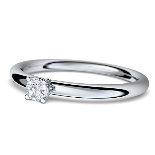 Verlobungsringe Antragsring Weißgold Ring Diamant 585 + inkl. Luxusetui + Diamant Ring Weißgold Diamantring Weißgold 0,10 Carat SI1/H (Weißgold 585) - Grace Amoonic Schmuck Größe 54 AM159 WG585BRFA54