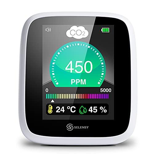 SELENSY Medidor de CO2 -Alarma Incorporada-Portátil a Tiempo Real- 400-5000 PPM -Medidor de Calidad de Aire Interior- Humedad y Temperatura - Sensor NDIR - Batería Litio - Cargador Incluido