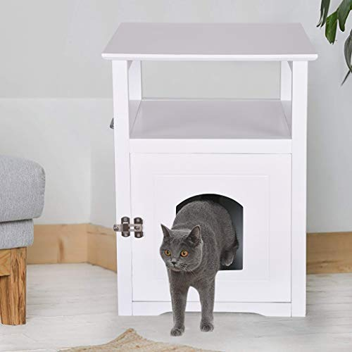 Multi-Purpose Cat House Side Table, Sturdy Wooden Cat Home Nightstand Indoor Pet Crate Cat Washroom Litter Box Enclosure, Spacious Storage, Easy Assembly (White)