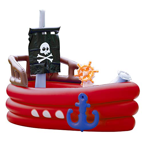 Teamson Kids - Water Fun Pirate Boat Inflatable Sprinkler Play Center with Pump...