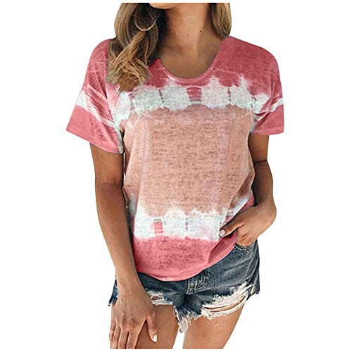 Aniywn Plus Size T-Shirt,Women Summer Casual O-Neck Short Sleeve Printing Patchwork Tunic Tops Basic Shirts Wine