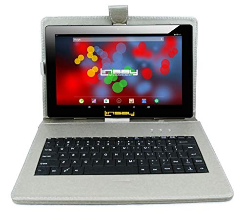 """LINSAY 10.1"""" 1280x800 IPS Screen Quad Core Tablet 16GB with Silver Keyboard Case"""