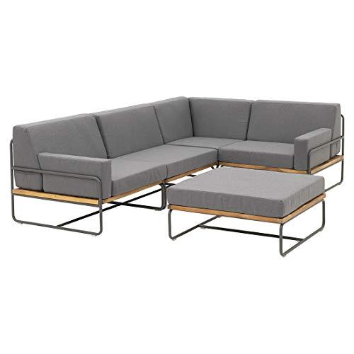 OUTLIV. Modulare Loungemöbel-Gruppe Largo Stahl/Akazie/Polyester Sitzecke 3-teilig Silber/Hellgrau Loungeecke Outdoor Gartenlounge Set