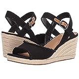 Zlolia Women's Solid Color Wedge Sandals Open Toe Ankle Adjustable Strap Heeled Rubber Sole Espadrilles Upper Black