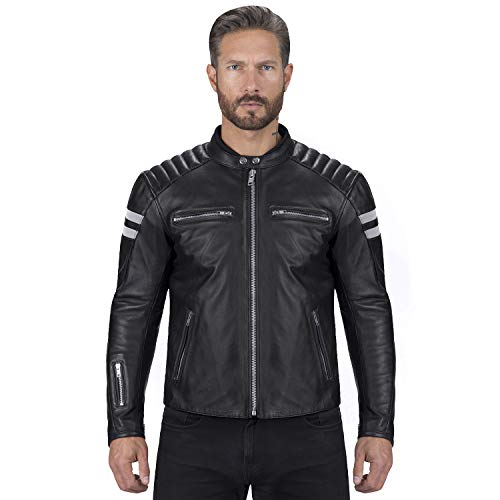Viking Cycle Leather Motorcycle Jacket for Men – Biker BloodAxe Armor Protection (Medium)