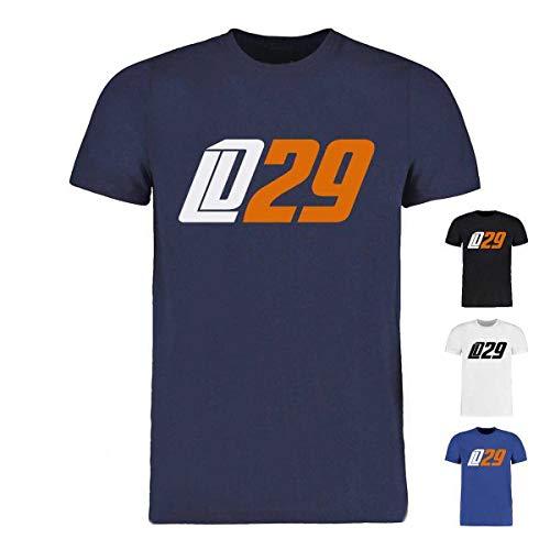 Scallywag® Eishockey T-Shirt Leon Draisaitl LD29 weiß, blau & Navyblau I Größen XS - 3XL I A BRAYCE® Collaboration (offizielle LD29 Kollektion vom NHL Edmonton Oilers Star) (3XL, weiß)