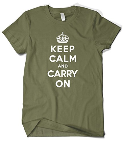 Cybertela Men's Keep Calm and Carry On T-Shirt (Olive Green, X-Large)