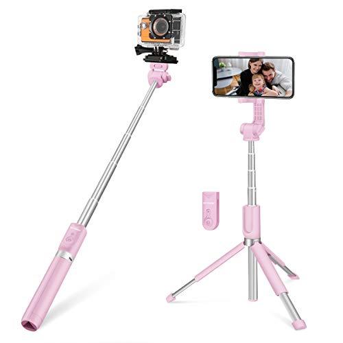 Selfie Stick bluetooth, BlitzWolf 81.5 cm Bastone Selife Allungabile Asta per Selfie bluetooth Treppiede per GoPro, iPhone, Android, con Telecomando, Rosa