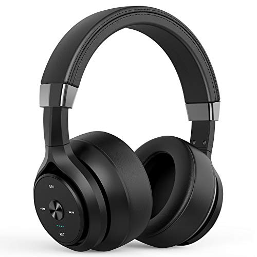 Bluetooth Headphones 40 Hours Playtime 4 Driver Units Hybrid EQ Bass Wireless Headphones Over Ear, Hifi Stereo Headset w/ HD Mic, Soft Protein Earpads for Gym Work Cellphone Workout Home Office -Black