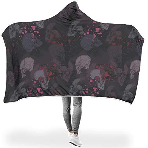 O2ECH-8 vleermuisdeken, schedelmotief, print, winter capuchon, deken, oversized voor lunchpauze