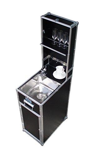 MobyKitchen Mobile Küche Piccolo, Mobile Wasserversorgung, mobiles Handwaschbecken im Flightcase, Gartenküche