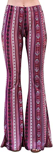 Daisy Del Sol High Waist Gypsy Comfy Yoga Ethnic Tribal Stretch 70s Bell Bottom Flare Pants (Large, Berry)