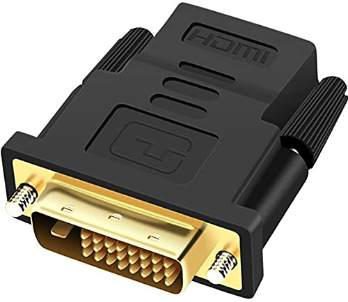 Adaptador convertidor DVI macho a HDMI hembra chapado en oro 24 + 1 pines DVI-D a 19 pines, adaptador convertidor HDMI 1080p Full HD