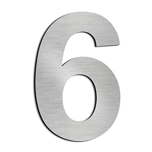 Cepillado número de casa 6 Seis -20.5 cm 8.1 in-made de sólido Acero inoxidable 304 flotante apariencia, fácil de instalar