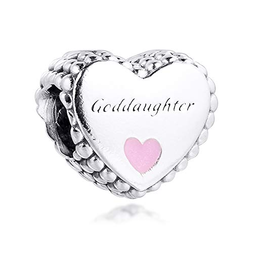 FUNSHOPP 2020 Autumn Goddaughter Heart Bead 925 Silver DIY Fits for Original Pandora Bracelets Charm Fashion Jewelry
