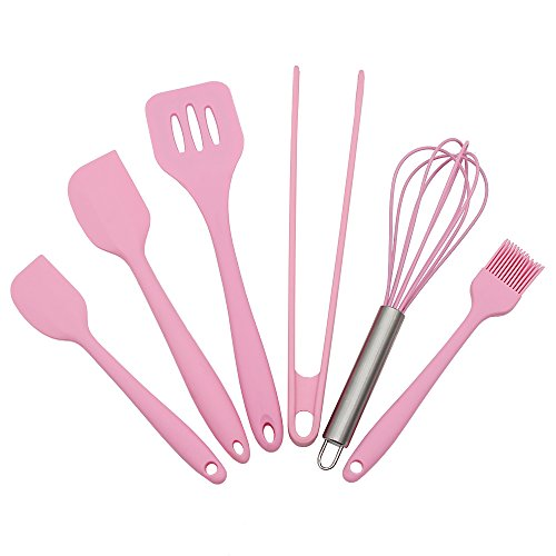 Silicone Baking Utensils Sets- 6 Piece Premium Silicone Baking Tool Set –Tongs, Whisk, 2 Sizes Spatula, Pastry Brush, Slotted Turner - Heat Resistant Baking Utensil Tool Set (pink)