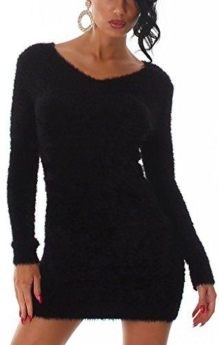 Luxestar Damen Fransen Longpulli Strickkleid Kuschel-Pullover Pulloverkleid weich zart kuschelig Hairy Langarm, Schwarz 32 34 36 (SM)