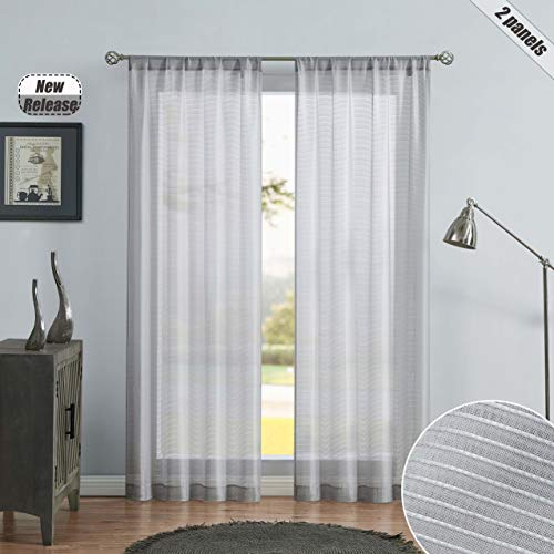 "Beauoop Gray Sheer Curtains 95 Inch Length Striped Curtain Panels Rod Pocket Voile Drapes for Living Room/Bedroom/Sliding Door Rustic Farmhouse Textured Window Treatment, Set of 2, 38"" W x 95"" L"