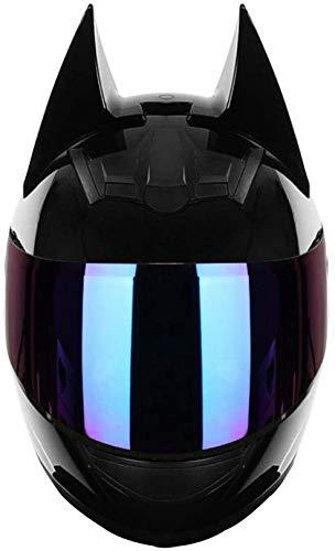 XLYYHZ Casco de gato para mujer con orejas de cara completa negra para hombre, casco de calle con auriculares Bluetooth para niños, visera abatible, para ATV Crash Scooter certificado DOT (54-62 cm)