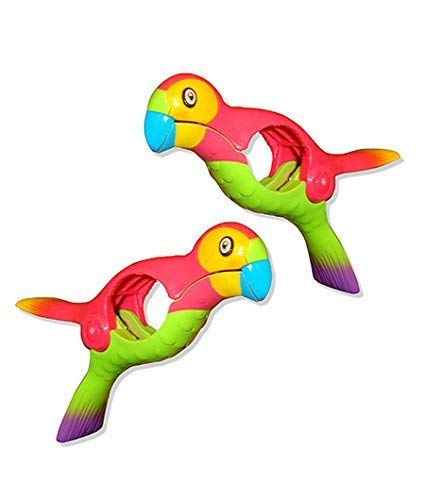 O2COOL Parrot BocaClips, Beach Towel Holders, Clips, Set of Two, Beach, Patio or Pool Accessories, Portable Towel Clips, Chip Clips, Secure Clips, Assorted Styles