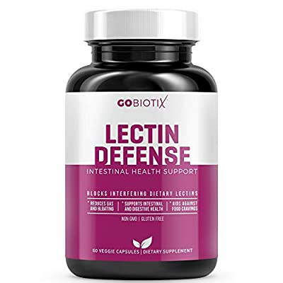 GoBiotix Lectin Defense | Block Interfering Dietary Lectins and Ease Gas | Aids in Intestinal Health with Immune Support | Digestive Enzyme Supplement for Women & Men | Non-GMO Gluten Free | 60 Caps