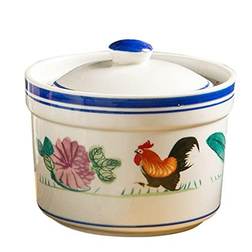 Hemoton 1 juego de cerámica con tapa de porcelana para sopa de vapor de pájaros, taza de nido, taza de postre para huevos y hierbas medicinales (pequeño)