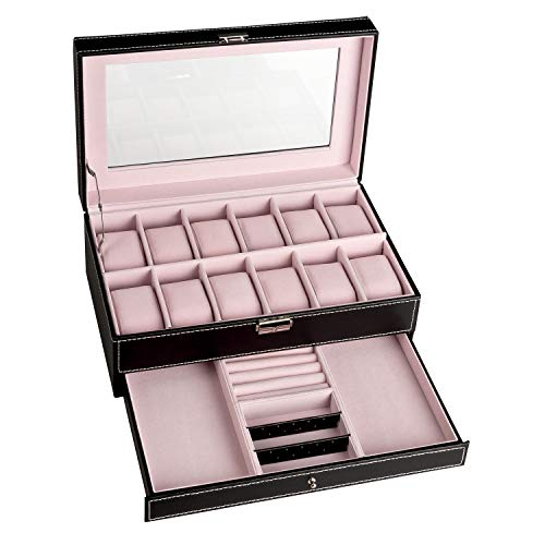 Schmuckbox und Uhrenbox, schwarz - 12 Uhren Aufbewahrungsbox und Schmuckaufbewahrung, Aufbewahrung Uhren Damen & Herren Uhrenbox 12 Uhren