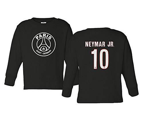 Spark Apparel Paris Soccer Shirt #10 Neymar Jr. Little Kids Girls Boys Toddler Long Sleeve T-Shirt (Black, 4T)