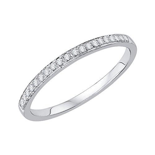 KATARINA Anillo de aniversario de diamantes en plata de ley (1/10 quilates, J-K, SI2-I1), metal con piedras preciosas, diamante,