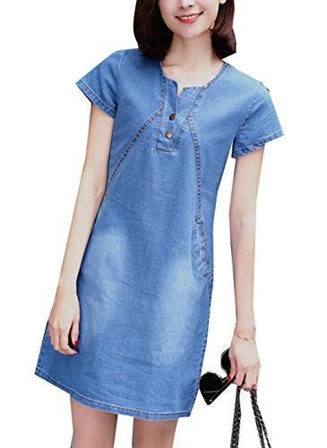 OMUUTR Damen Sommer Jeanskleid Blusenkleid Minikleid Rundhals Kurzarm Kurze Ärmel Denim Kieider Hemdkleid Abendkleid Partykleid Medium