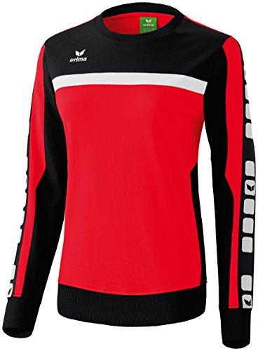 Erima Damen Classic 5-C Sweatshirt, rot/schwarz/weiß, 36