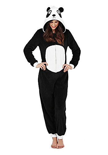 Continental Damen Jumpsuit Overall Tiere Gesichter Öhrchen 3D Kapuze Panda 3D All in One 79665/79765 S