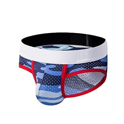 NAY Nalakey Herren Slips Unterwäsche Sexy Unterwäsche Männer Mesh Spleißen Boxer Hosen Unterhose Atmungsaktive Weiche Höschen Sportunterhosen Antibakterielle