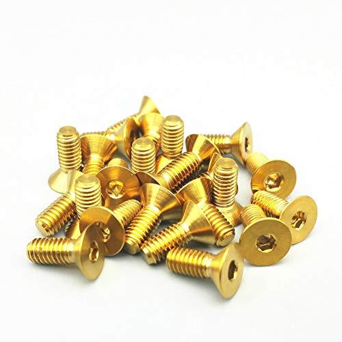 WEIXIAO WLKH Tornillos de Titanio M3 M4 M5 M6 M8 de Cabeza avellanada de Oro múltiples Tornillos de Titanio en Color Tornillos Allen Sujetadores 6pcs (Color : Gold Color, Talla : M6x30)